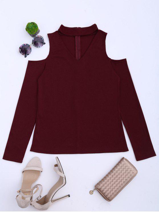 Camiseta corta de punto a rayas con hombros fríos - Rojo oscuro S