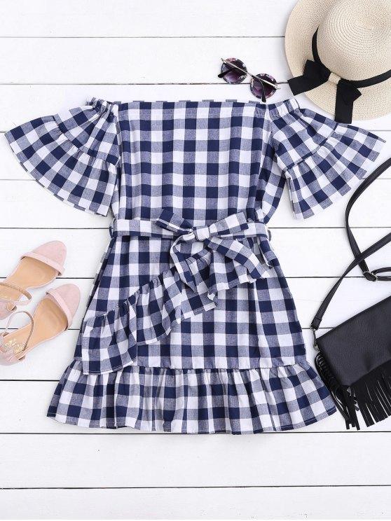 فستان ذو نمط مربعات مربوط بلا اكتاف مصغر - التحقق L