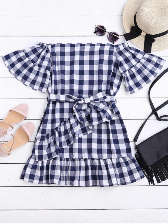 womens Checked Belted Off Shoulder Mini Dress - CHECKED S