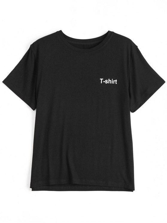 ladies Letter Pattern Short Sleeve T-shirt - BLACK L
