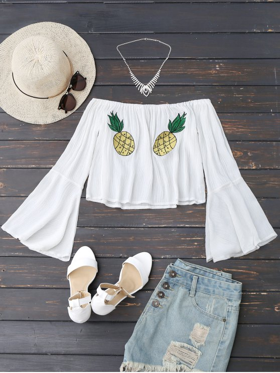 shop Off Shoulder Pineapple Embroidered Top - WHITE S