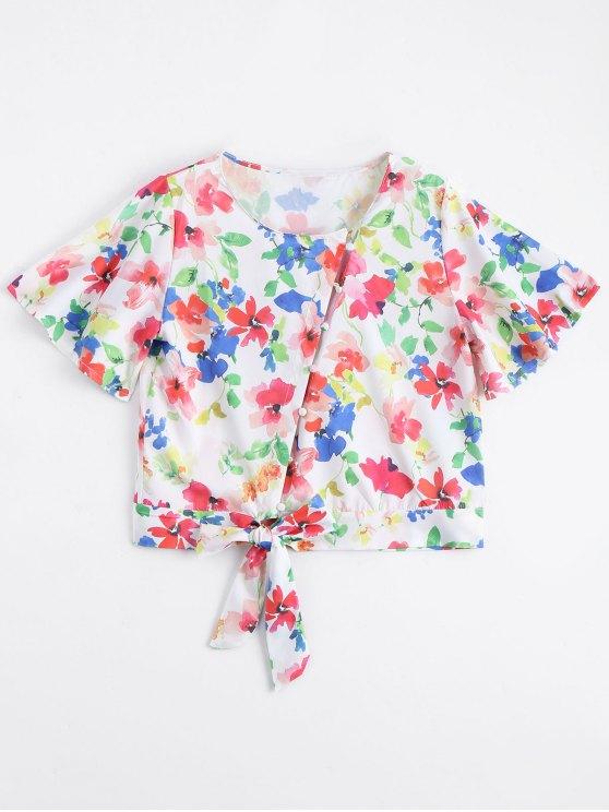 trendy Bowknot Button Up Floral Top - FLORAL M