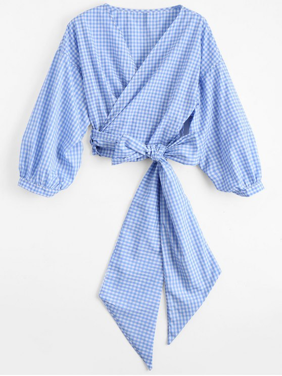 unique Checked Bowknot Wrap Top - CHECKED S