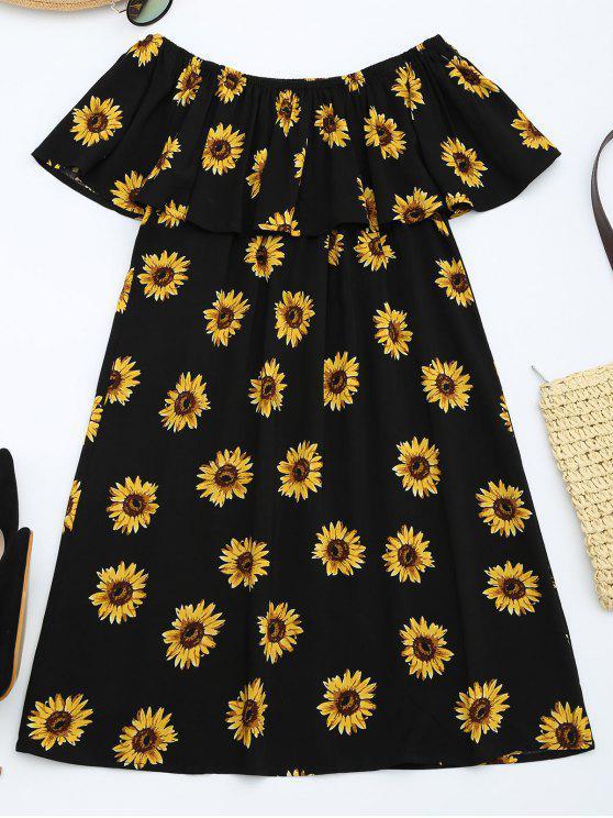Vestido con volantes de impresión de girasol - Floral S