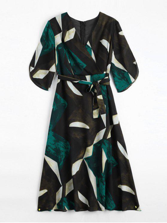 Crossover Geo Print Midi Kleid mit Gürtel - Mehrfarbig M