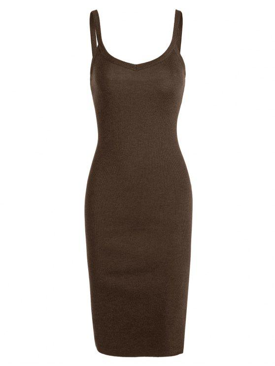 outfits Side Slit Knitted Cami Sheath Dress - BROWN ONE SIZE