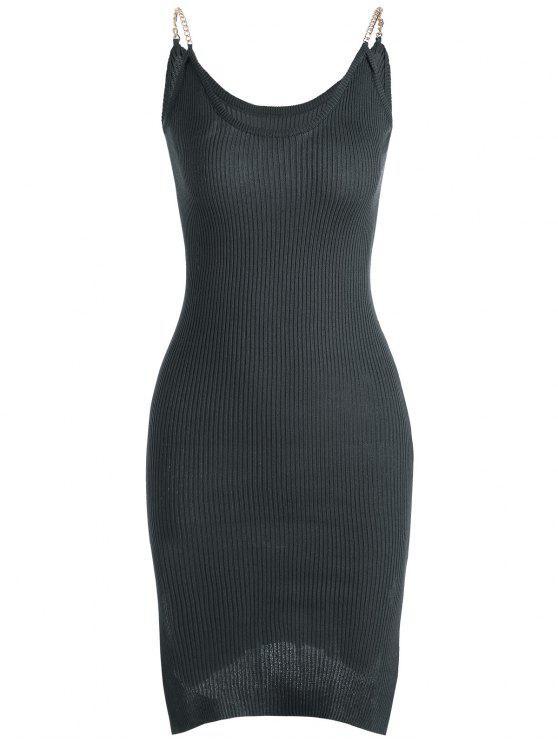 Vestido Acanalado de Tejido con Tirante Fino con Abertura Lateral - Gris Oscuro Única Talla