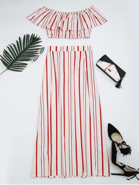 latest Separate Striped Top and Slit Skirt Suit - RED STRIPES M