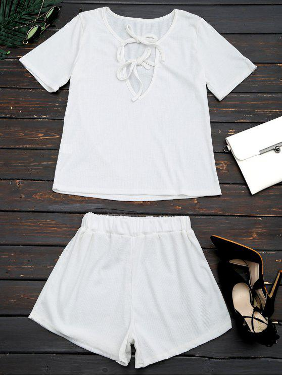 ladies Cut Out Top and Shorts Two Piece Suit - WHITE XL
