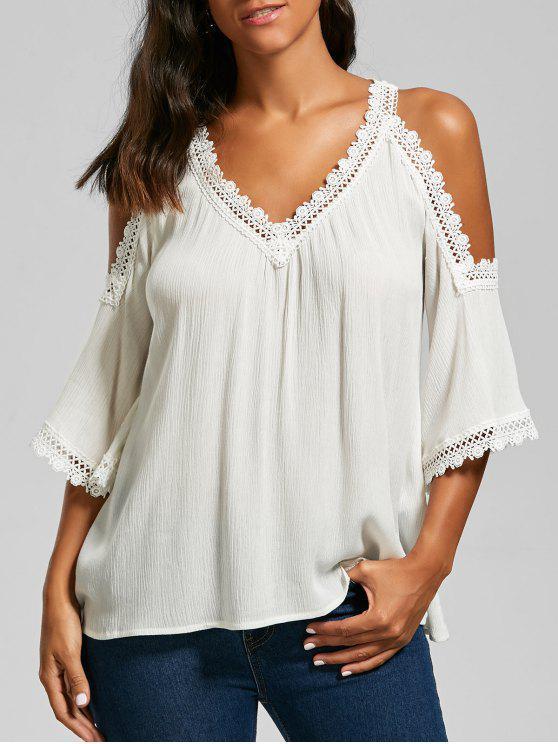 women's Laced V Neck Cold Shoulder Top - WHITE 2XL