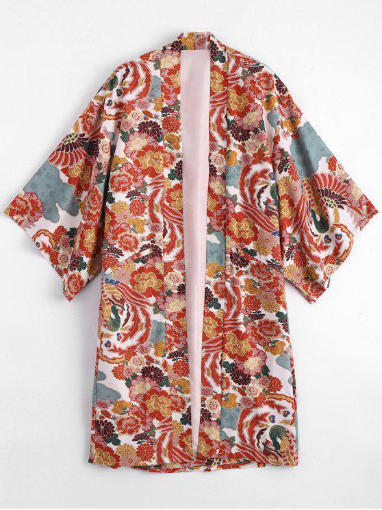 outfit Open Front Floral Kimono Blouse - FLORAL S