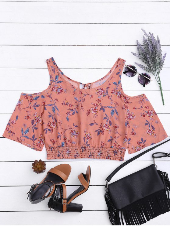 hot Floral Smocked Cold Shoulder Top - PINK L
