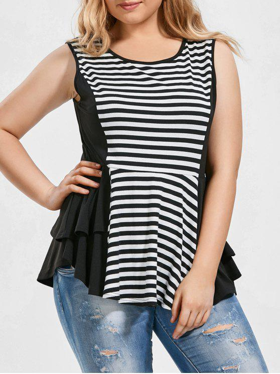 trendy Striped Plus Size Tiered Peplum Top - WHITE AND BLACK 2XL