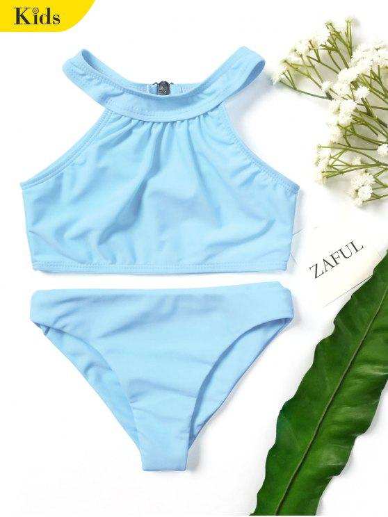 womens Kids Girls Choker High Neck Bikini Set - LIGHT BLUE 7T