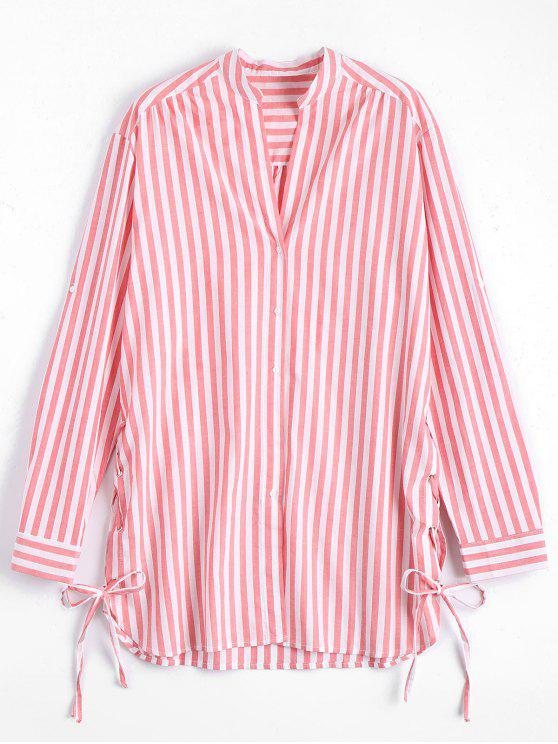 ladies Side Lace Up Longline Striped Shirt - STRIPE S