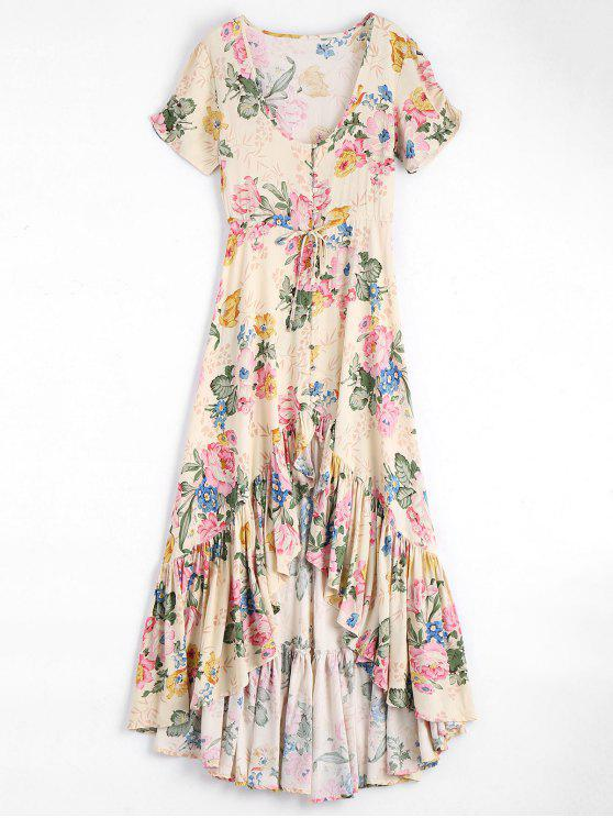 latest High Low Scoop Neck Floral Ruffled Maxi Dress - FLORAL L