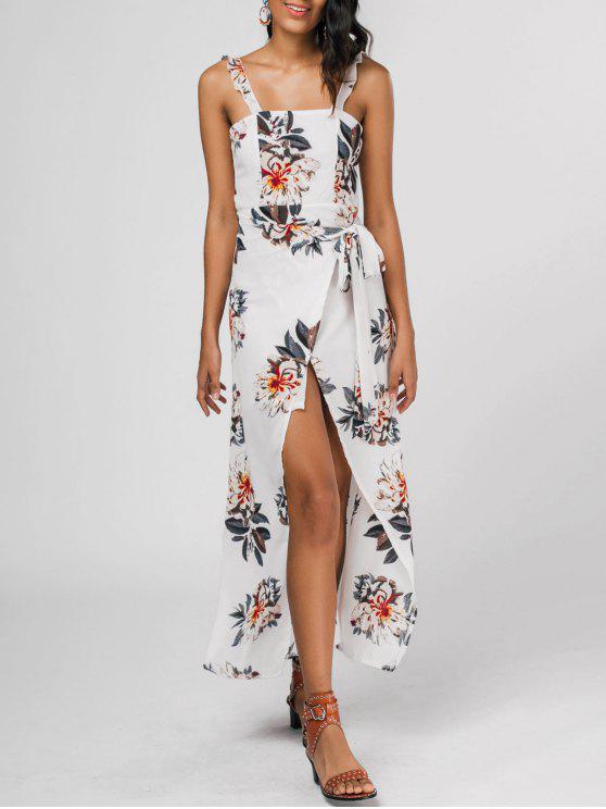 Vestito a fessura di stampa floreale con cinghia increspata - Floreale S