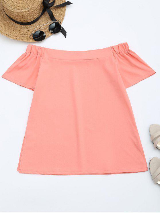trendy Off The Shoulder Short Sleeves Blouse - ORANGEPINK L