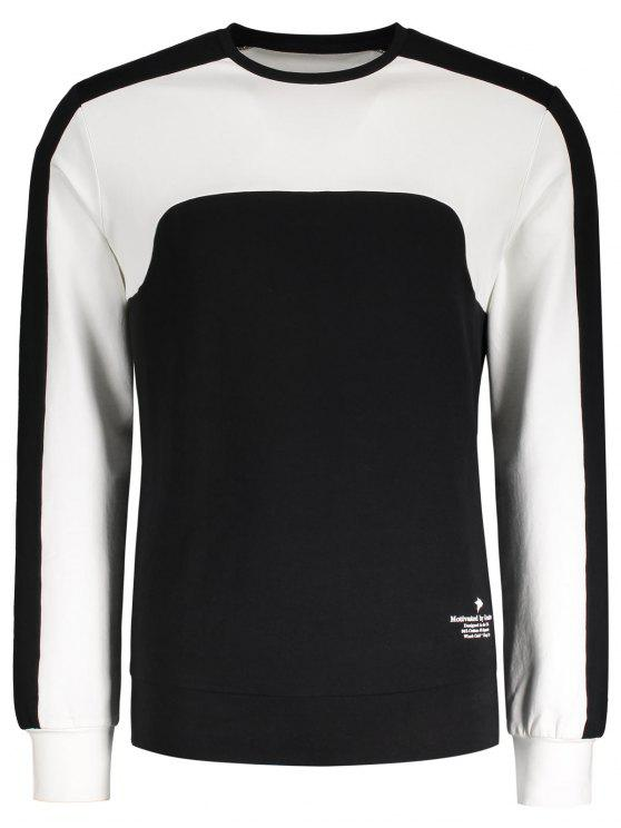 Camiseta de algodón de panel de dos tonos - Negro L