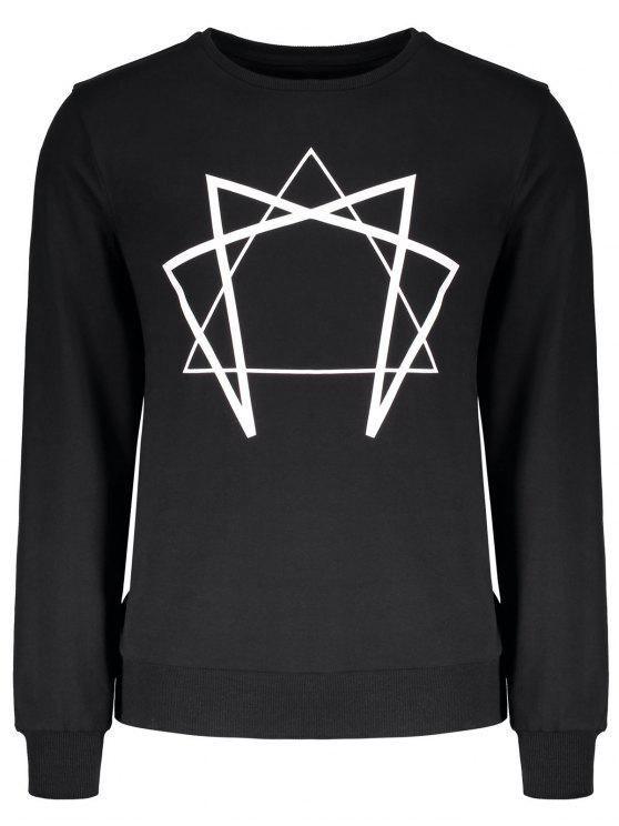 hot Crew Neck Geometric Printed Sweatshirt - BLACK M