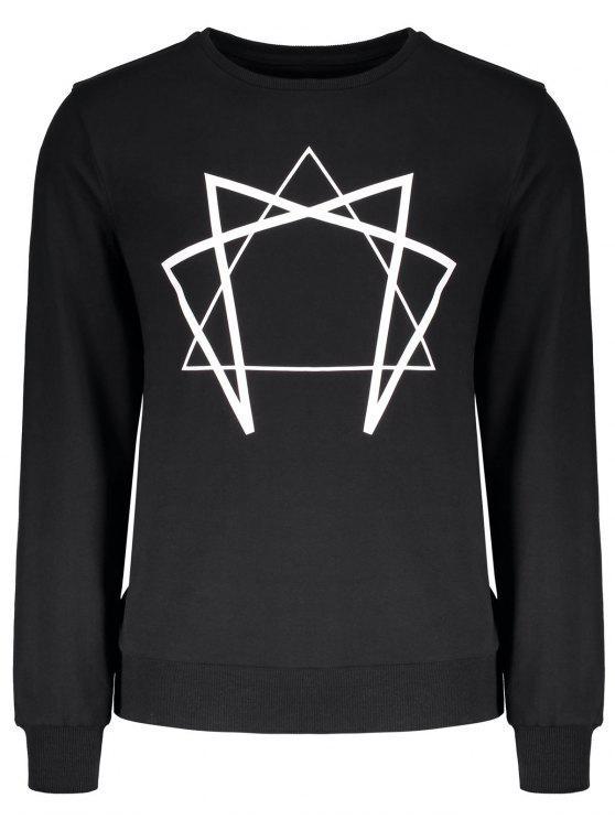 hot Crew Neck Geometric Printed Sweatshirt - BLACK M