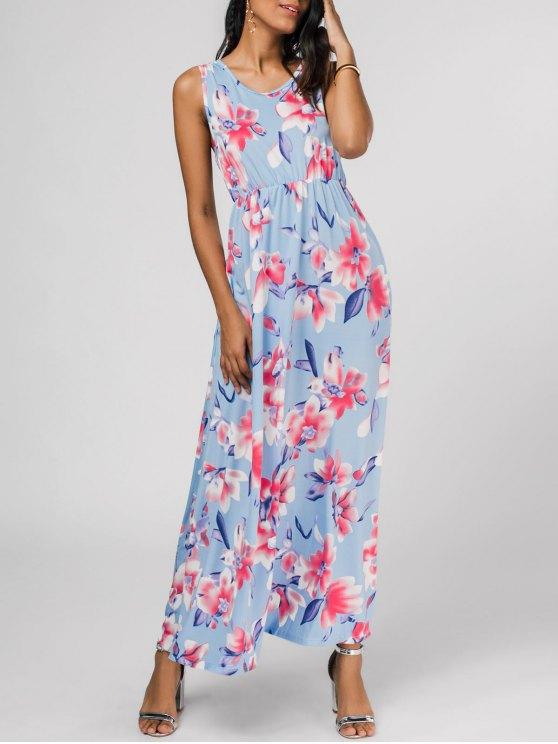 Ärmelloses Blumenmuster Maxi Kleid - Blumen L