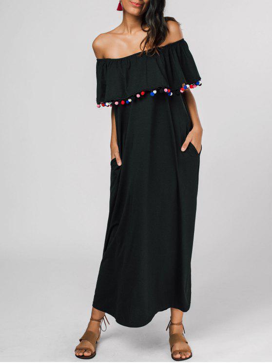women Off The Shoulder Flounce Embellished Dress - BLACK S