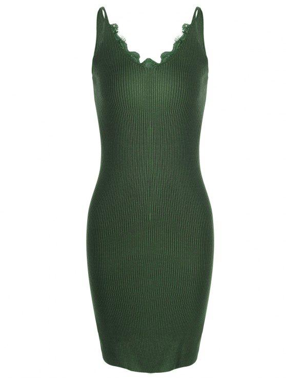 new Lace Panel Side Slit Knitted Dress - ARMY GREEN ONE SIZE