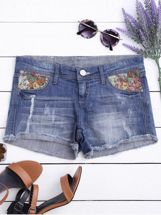 fancy Graphic Cutoffs Distressed Denim Shorts - DEEP BLUE 34