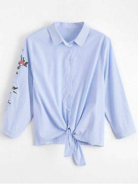 buy Floral Embroidered Bowknot Stripes Shirt - STRIPE M