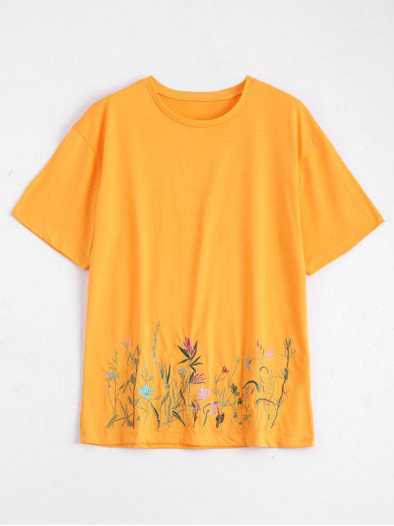 Camiseta bordada floral del cuello de equipo - Amarillo S
