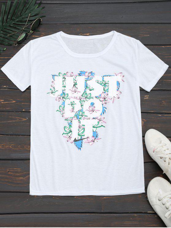 Camiseta floral de la impresión de la letra del c - Blanco M