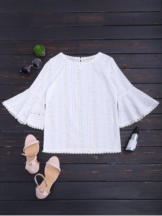 chic Round Collar Flare Sleeve Openwork Blouse - WHITE S
