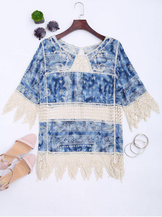 Camicetta in feltro Zigzag stampato a crochet - Blu Taglia unica