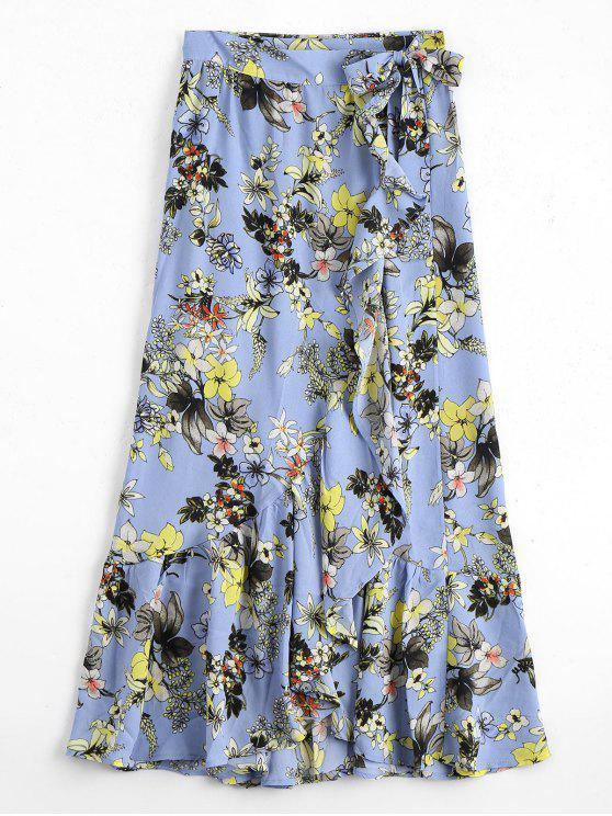 unique Floral Ruffles Asymmetrical Wrap Skirt - FLORAL S