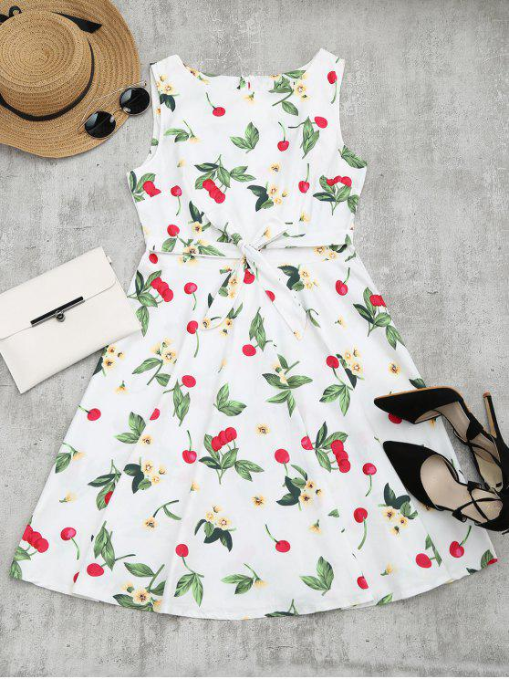 Cherry Floral Print sem mangas Flare Dress - Branco XL