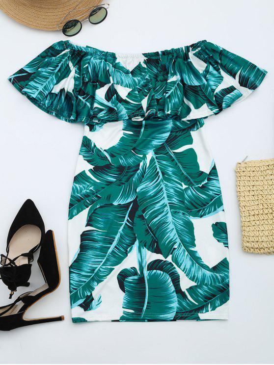 trendy Leaves Print Flounce Fitted Dress - DEEP GREEN L