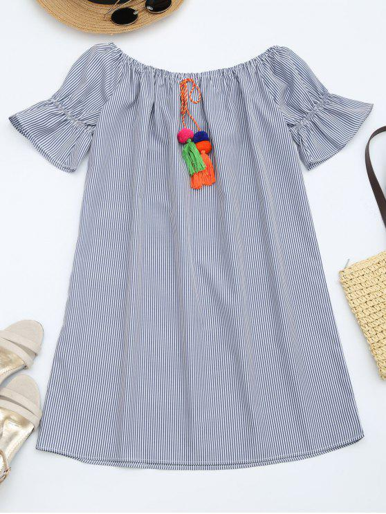 affordable Flare Sleeve Striped Dress with Tassels - STRIPE M