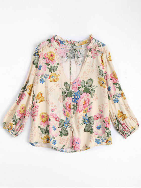 lady Floral V Neck Tied Ruffled Shirt - FLORAL L