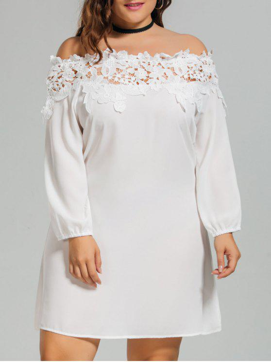 Lace Trim Off Shoulder Plus Size Dress WHITE