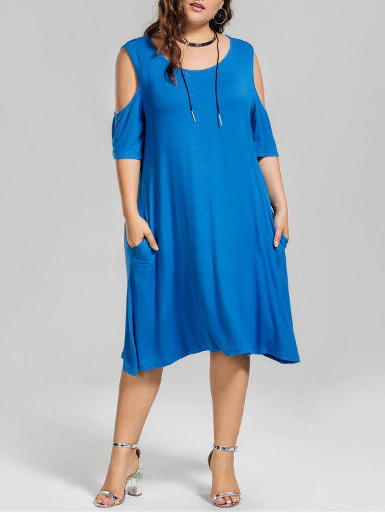 ladies Casual Plus Size Cold Shoulder Dress - BLUE XL