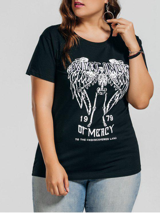 shops Plus Size Letter Skull T-Shirt - BLACK 4XL