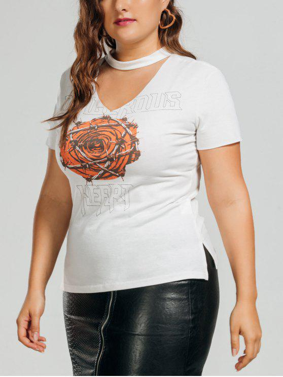 Letter Rose Plus Size Choker Top - Blanc XL