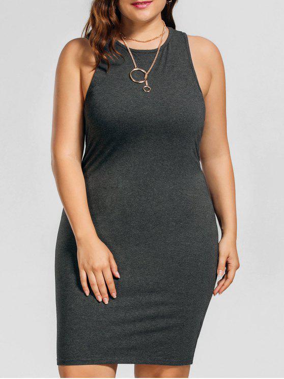 زائد حجم فستان عارضة تانك - الرمادي العميق 5XL