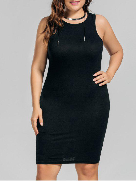 shop Plus Size Casual Tank Dress - BLACK 2XL