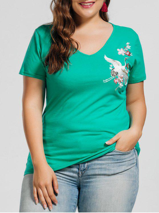 ladies Plus Size Crane Embroidered Top - GREEN 2XL