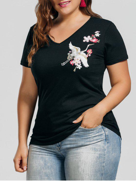 fancy Plus Size Crane Embroidered Top - BLACK XL