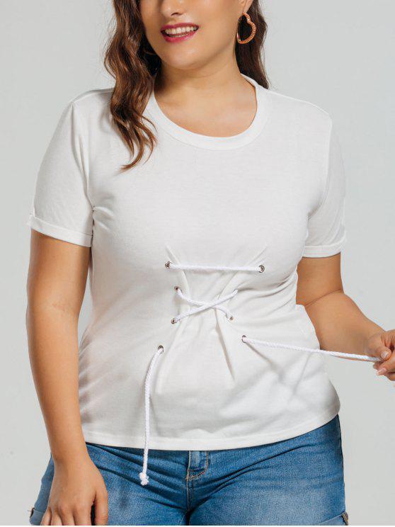 best Cotton Plus Size Lace Up Top - WHITE XL