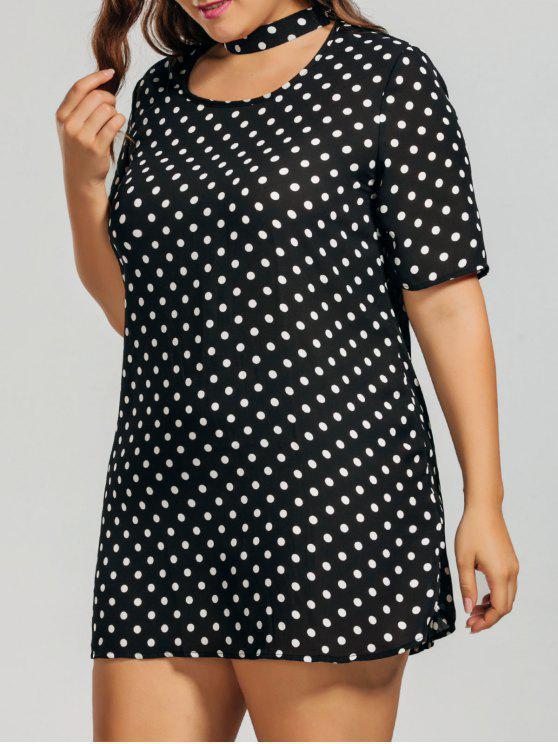 Polka Dot Plus Size Choker Dress - Branco e Preto 5XL