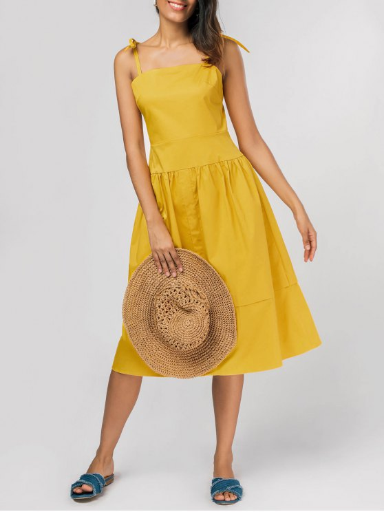 lady Tie Shoulder Fit and Flare Midi Dress - YELLOW XL